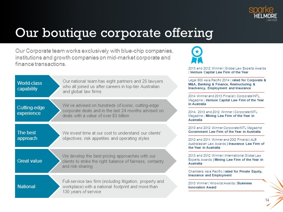 Our boutique corporate offering