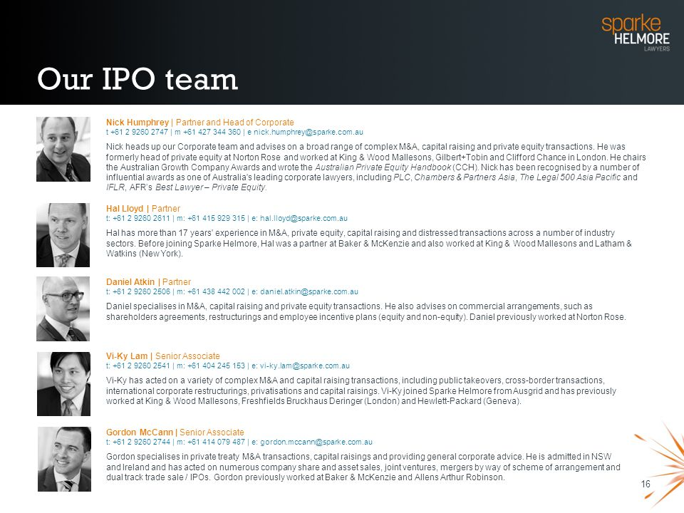 Our IPO team Nick Humphrey | Partner and Head of Corporate