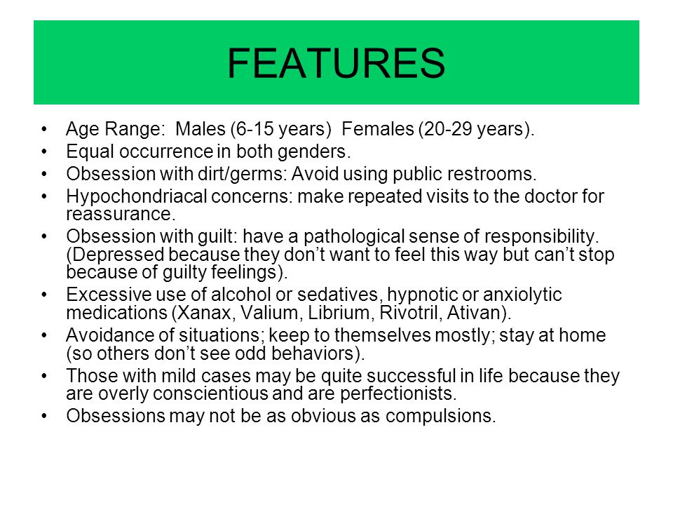 FEATURES Age Range: Males (6-15 years) Females (20-29 years).