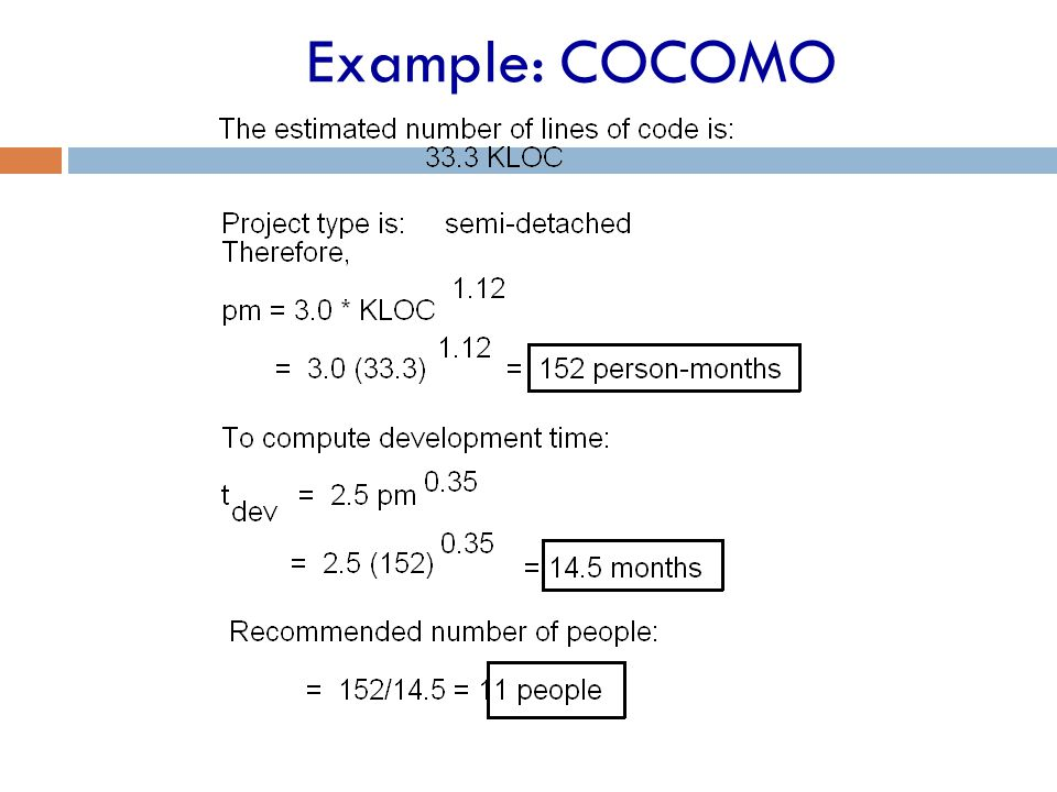 Example: COCOMO