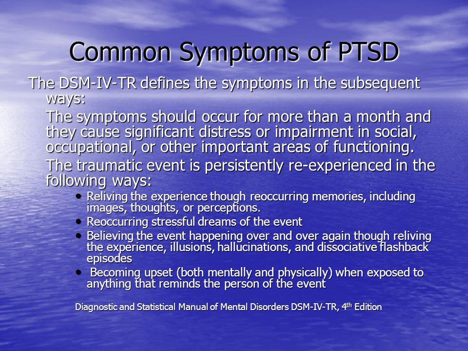 Common Symptoms of PTSD