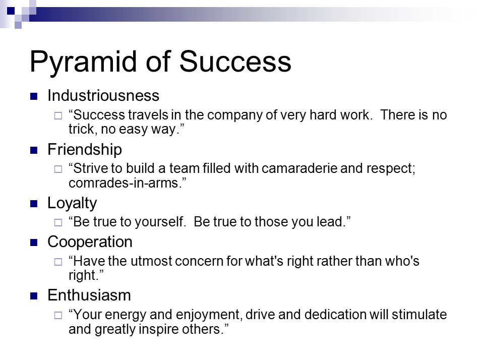 Pyramid of Success Industriousness Friendship Loyalty Cooperation