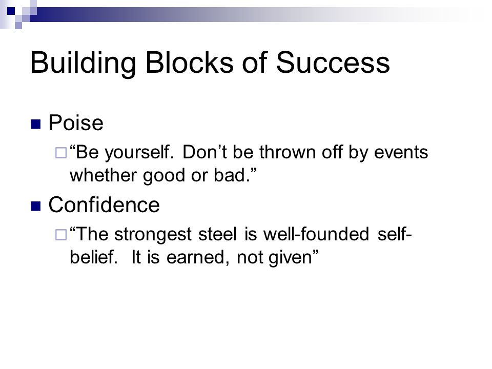 Building Blocks of Success