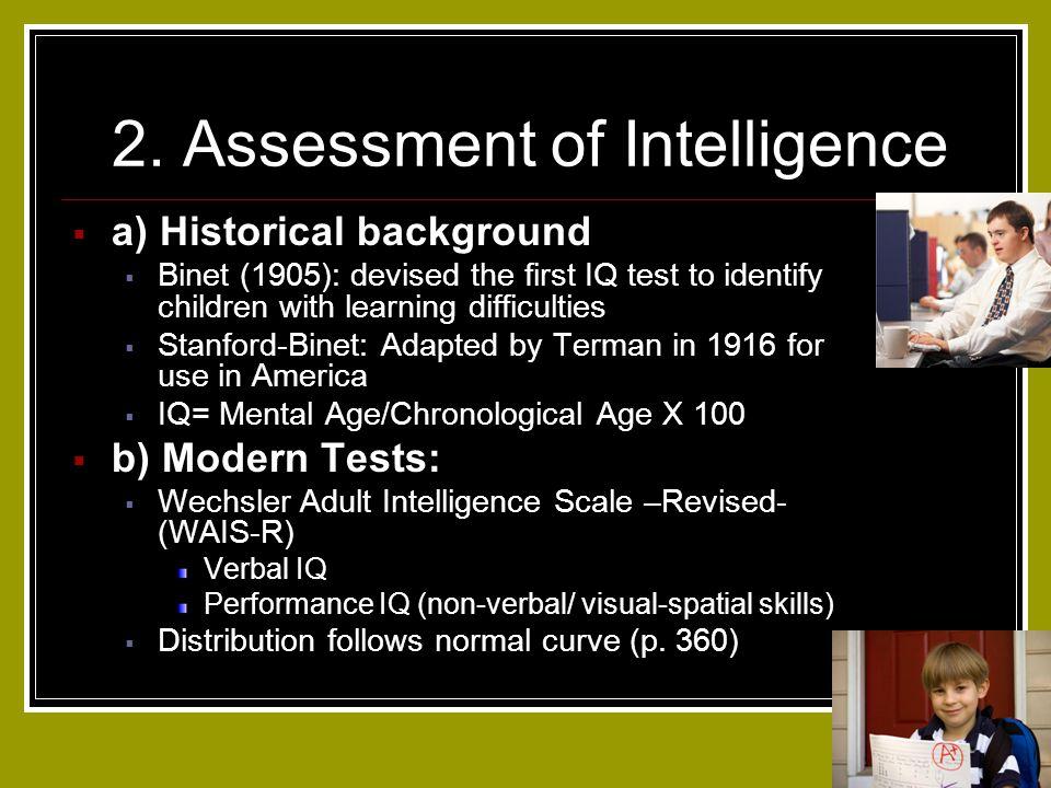 2. Assessment of Intelligence