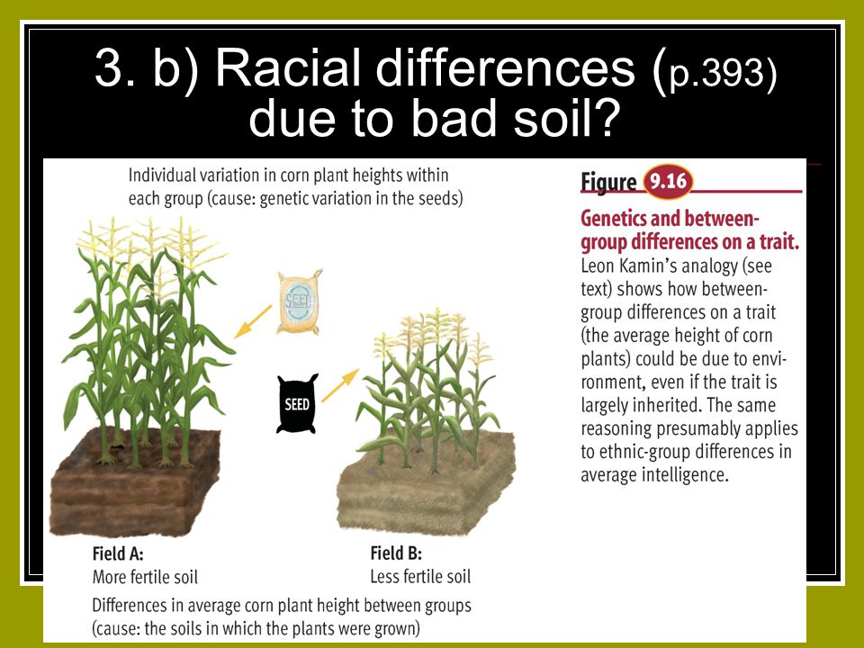 3. b) Racial differences (p.393) due to bad soil