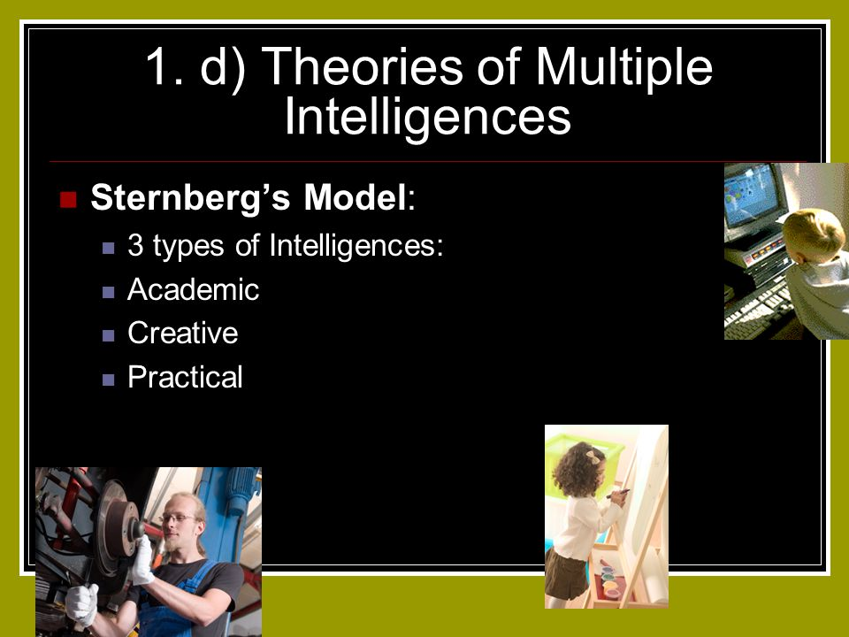 1. d) Theories of Multiple Intelligences