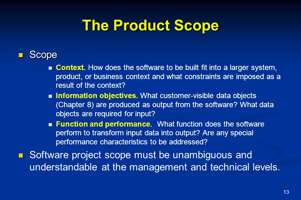 The Product Scope Scope