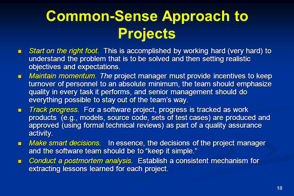 Common-Sense Approach to Projects