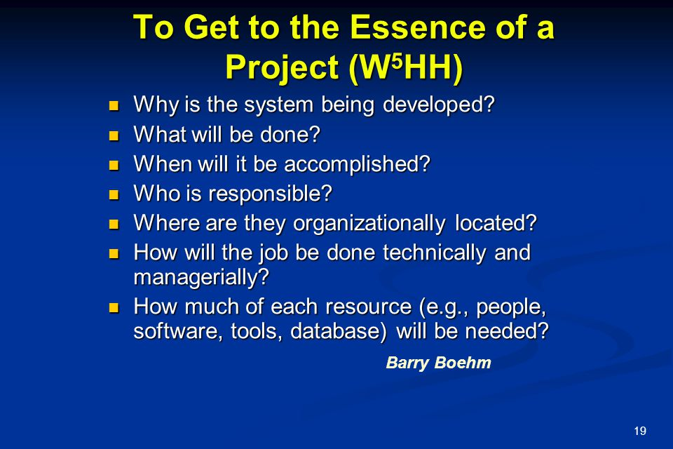 To Get to the Essence of a Project (W5HH)