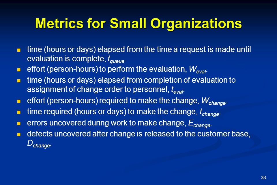 Metrics for Small Organizations