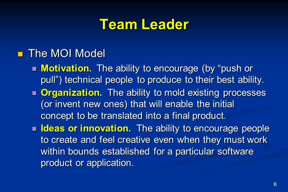 Team Leader The MOI Model