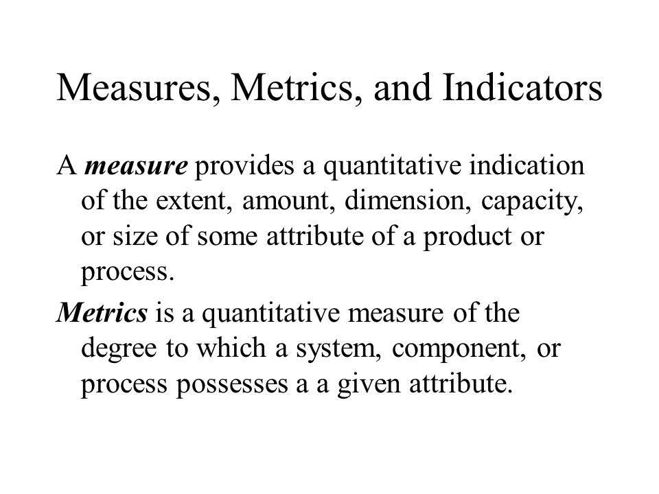 Measures, Metrics, and Indicators