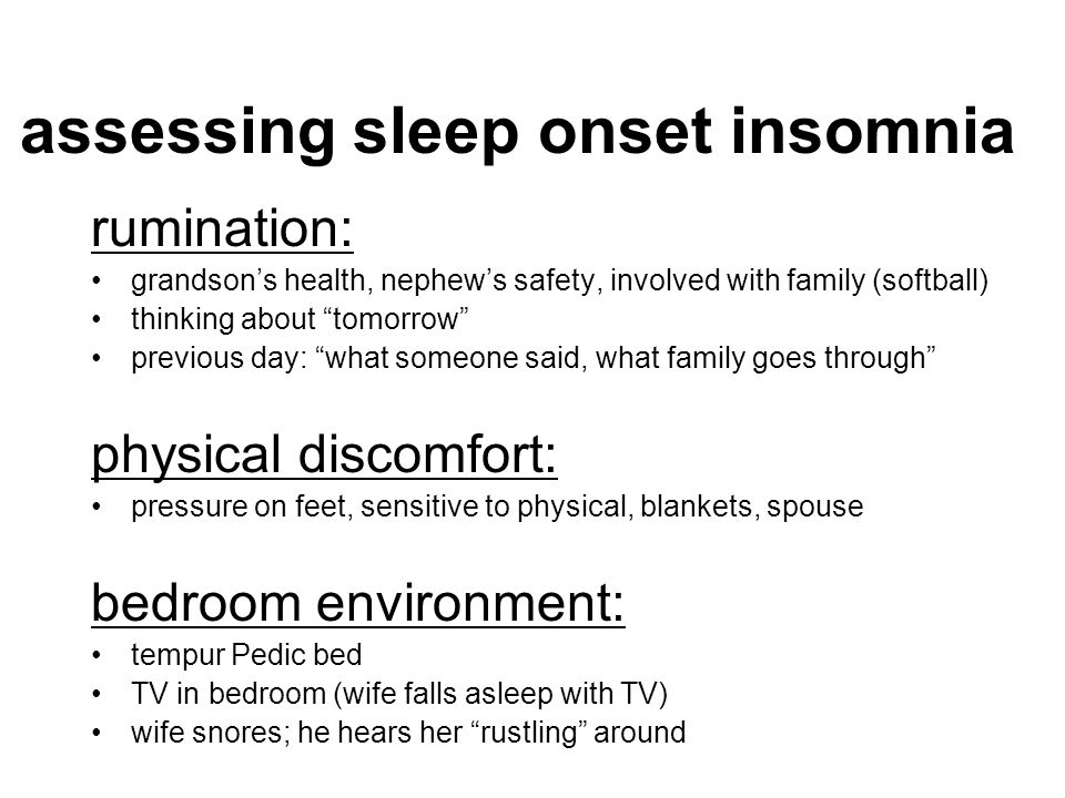 assessing sleep onset insomnia