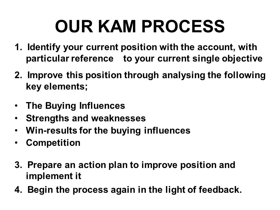 OUR KAM PROCESS 1. Identify your current position with the account, with particular reference to your current single objective.