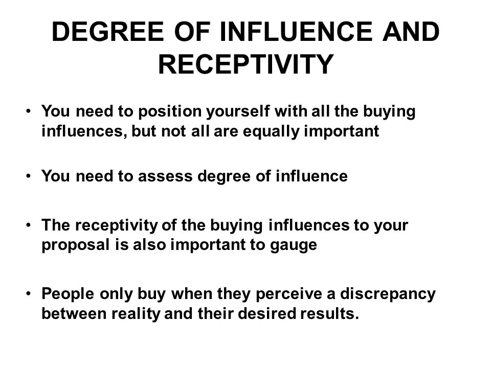 DEGREE OF INFLUENCE AND RECEPTIVITY
