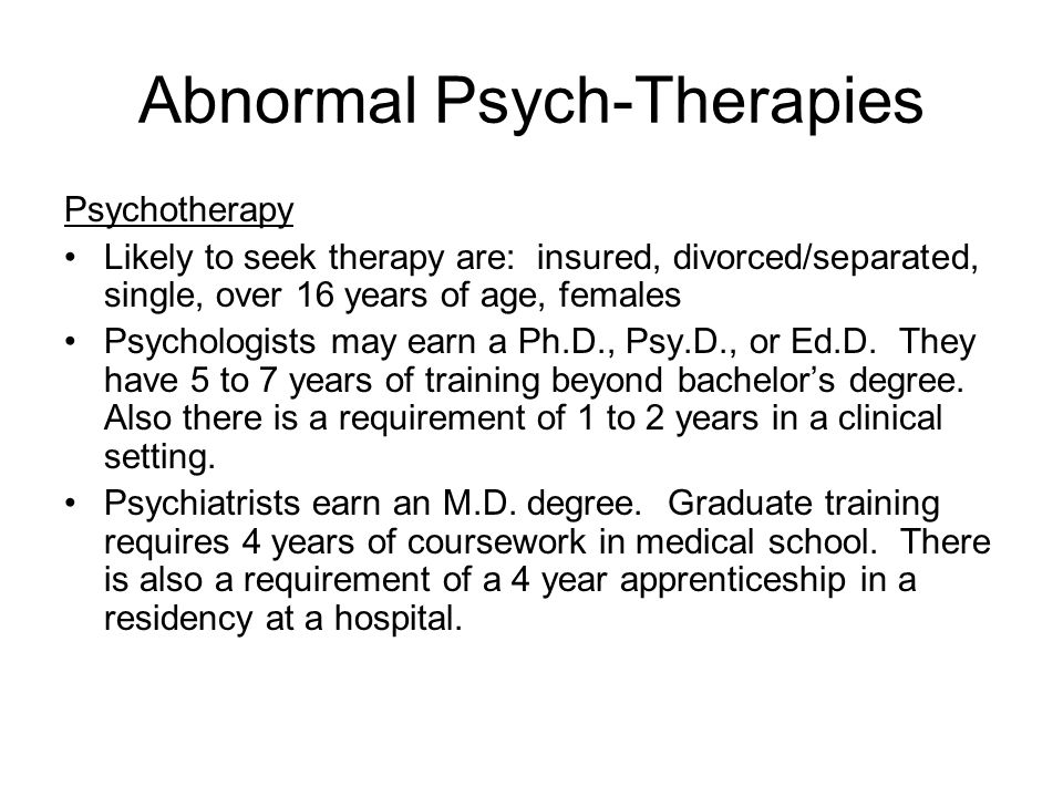 Abnormal Psych-Therapies