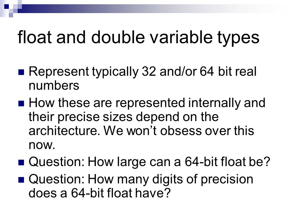 float and double variable types