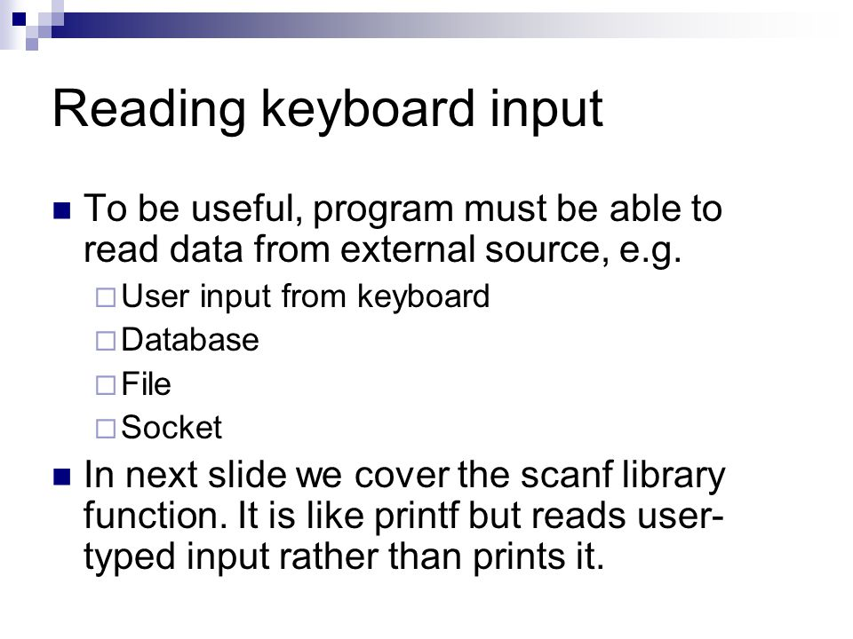 Reading keyboard input