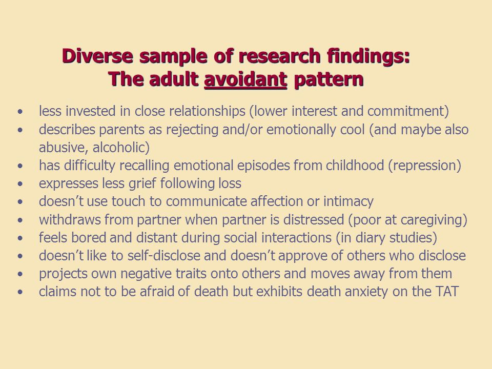 Diverse sample of research findings: The adult avoidant pattern