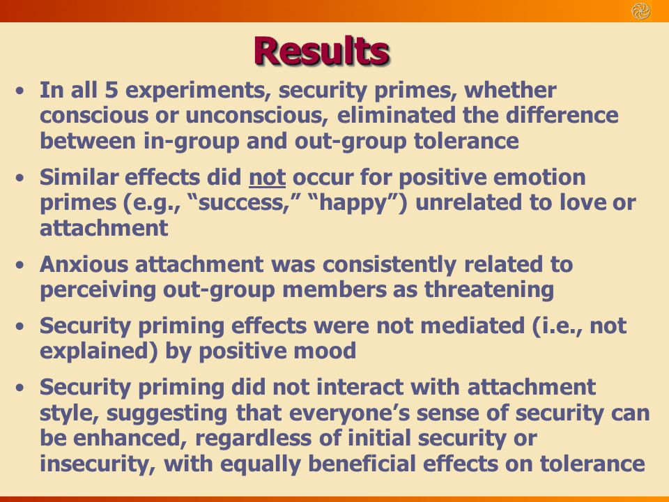 Results In all 5 experiments, security primes, whether conscious or unconscious, eliminated the difference between in-group and out-group tolerance.