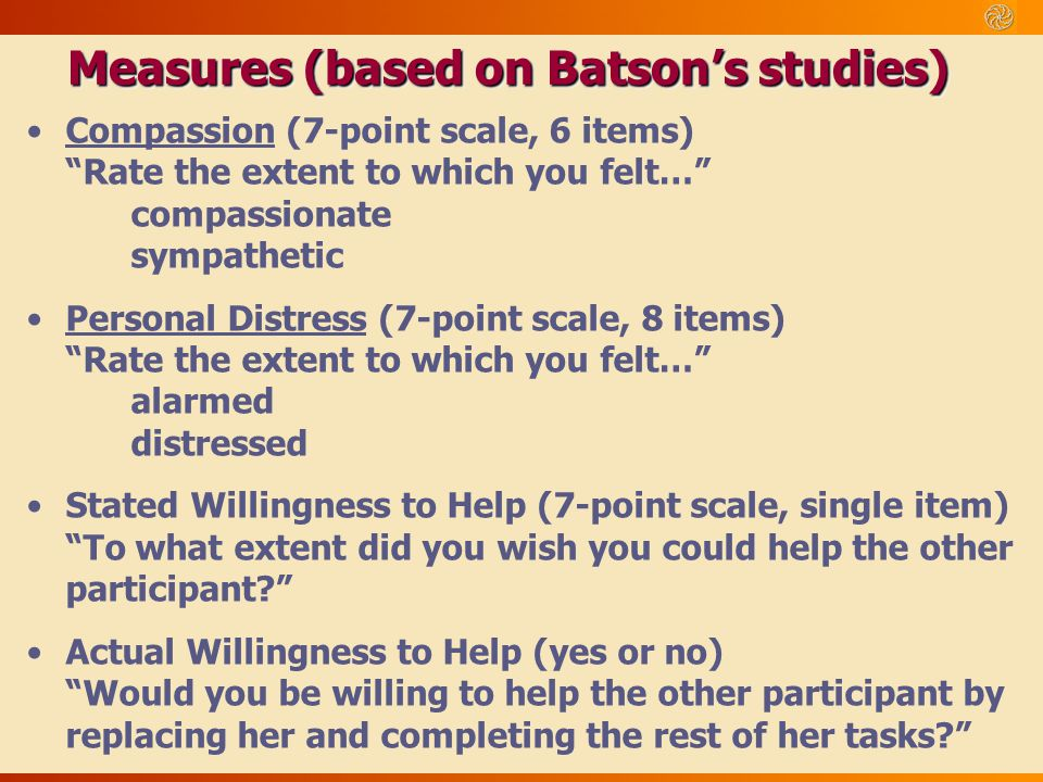 Measures (based on Batson's studies)