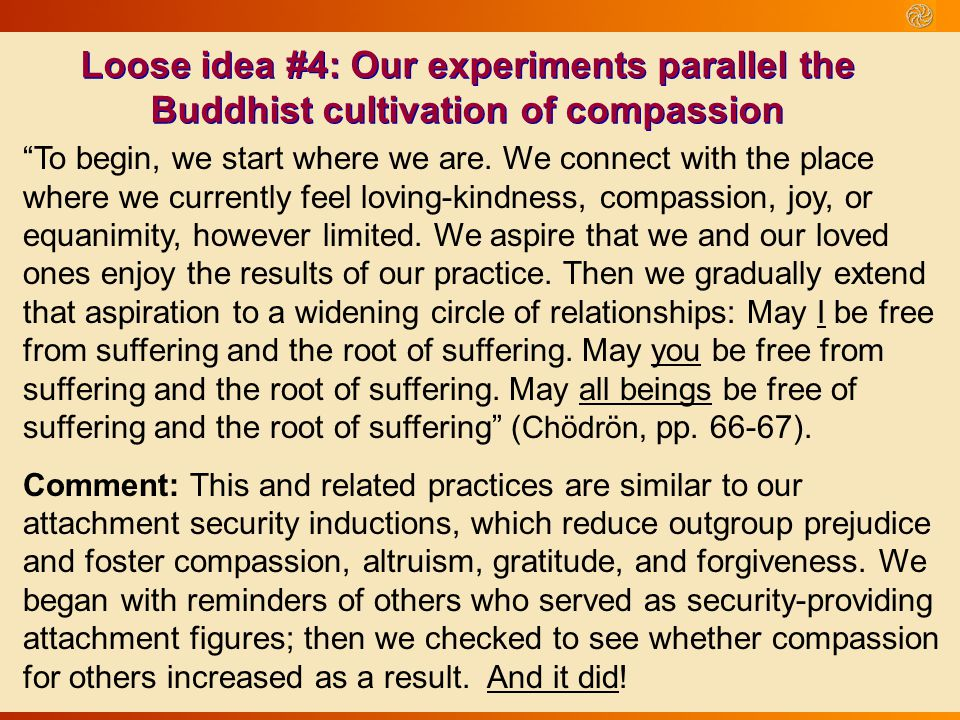 Loose idea #4: Our experiments parallel the Buddhist cultivation of compassion