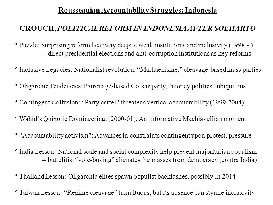 Rousseauian Accountability Struggles: Indonesia