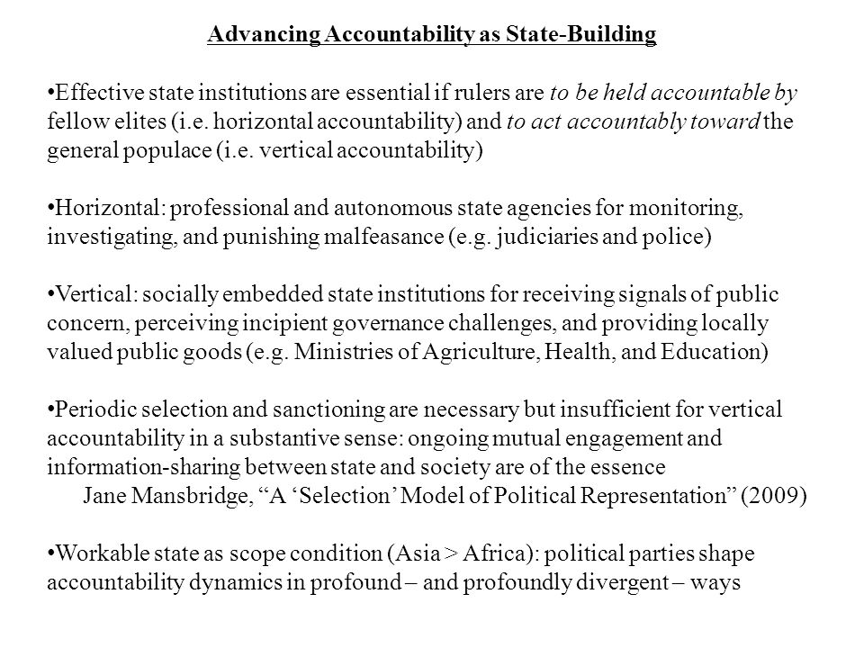 Advancing Accountability as State-Building