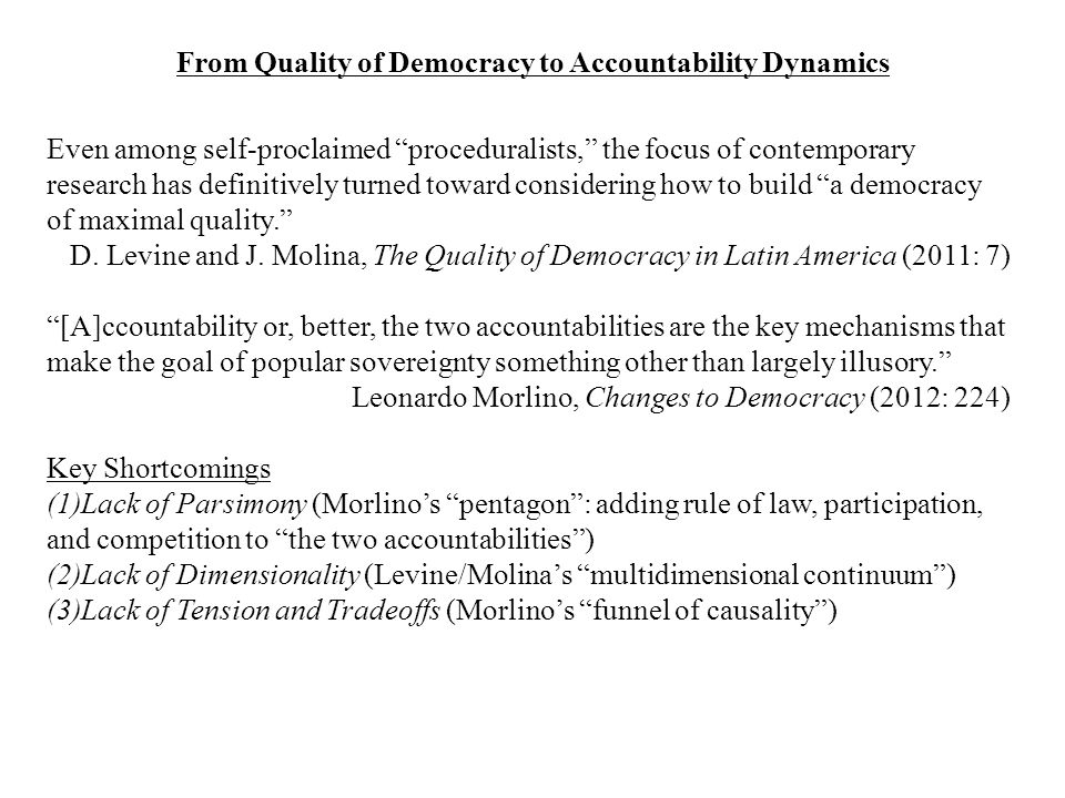 From Quality of Democracy to Accountability Dynamics