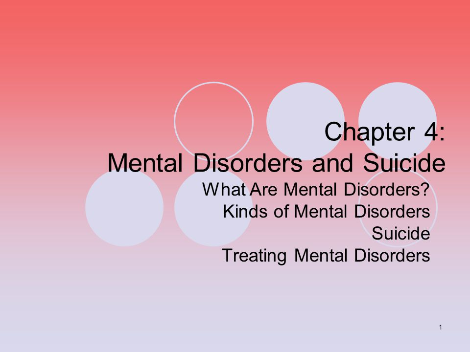 Chapter 4: Mental Disorders and Suicide