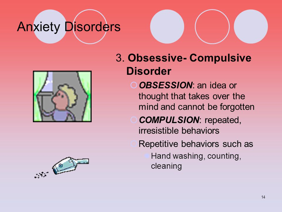 Anxiety Disorders 3. Obsessive- Compulsive Disorder