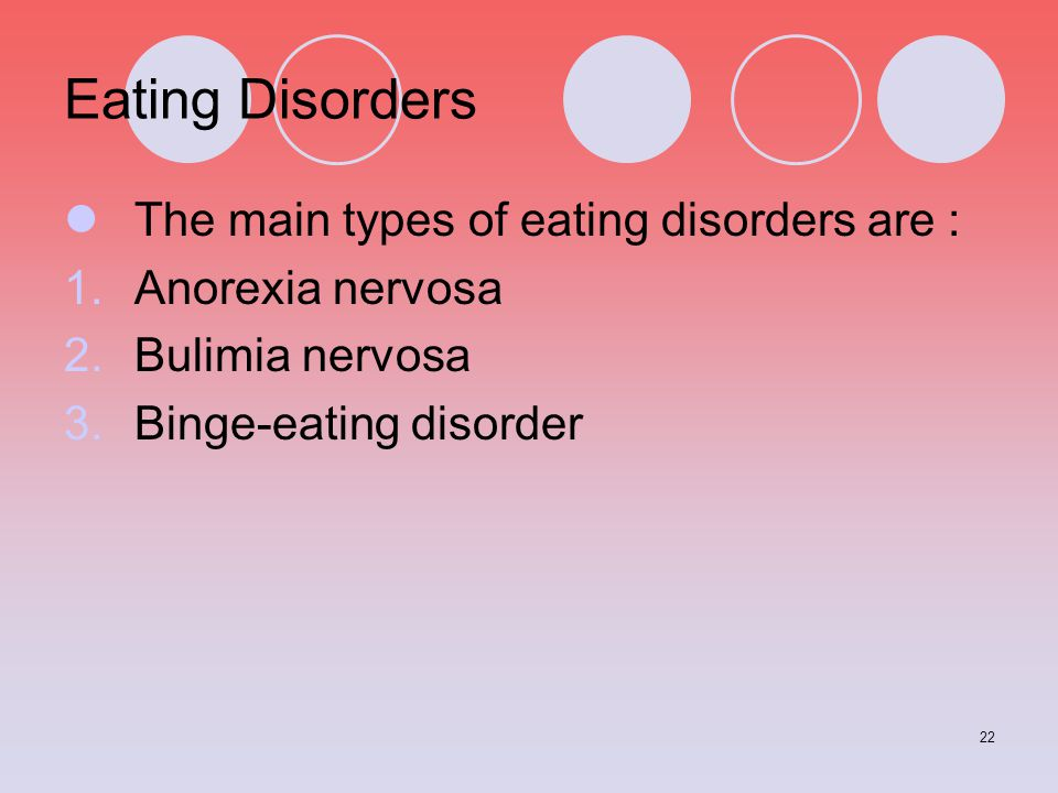 Eating Disorders The main types of eating disorders are :