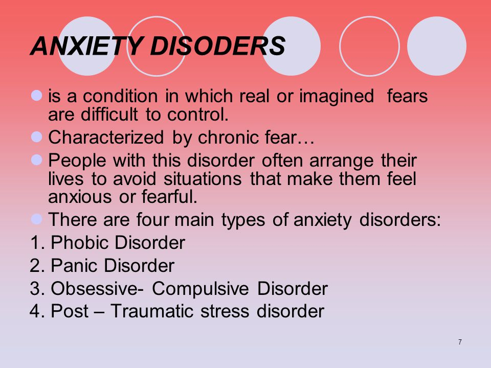 ANXIETY DISODERS is a condition in which real or imagined fears are difficult to control. Characterized by chronic fear…