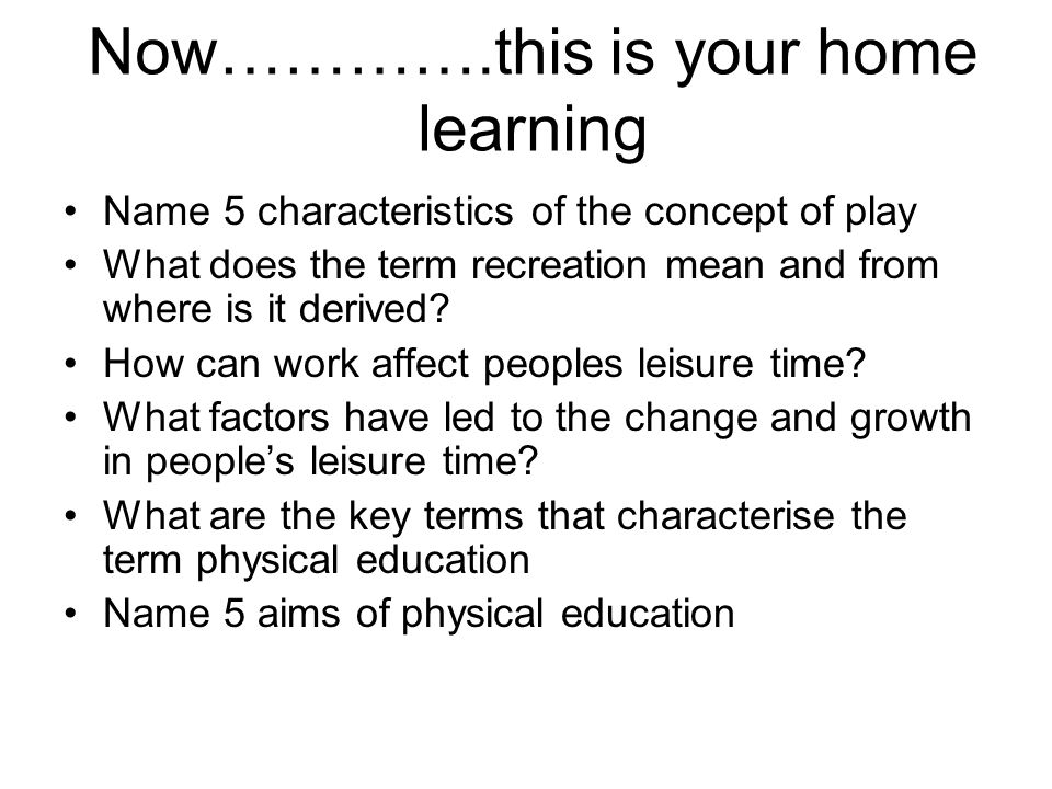 Now………….this is your home learning
