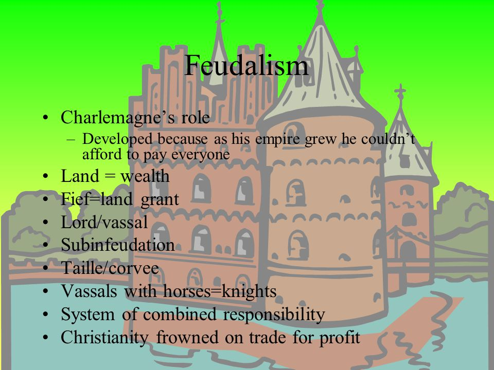 Feudalism Charlemagne's role Land = wealth Fief=land grant Lord/vassal