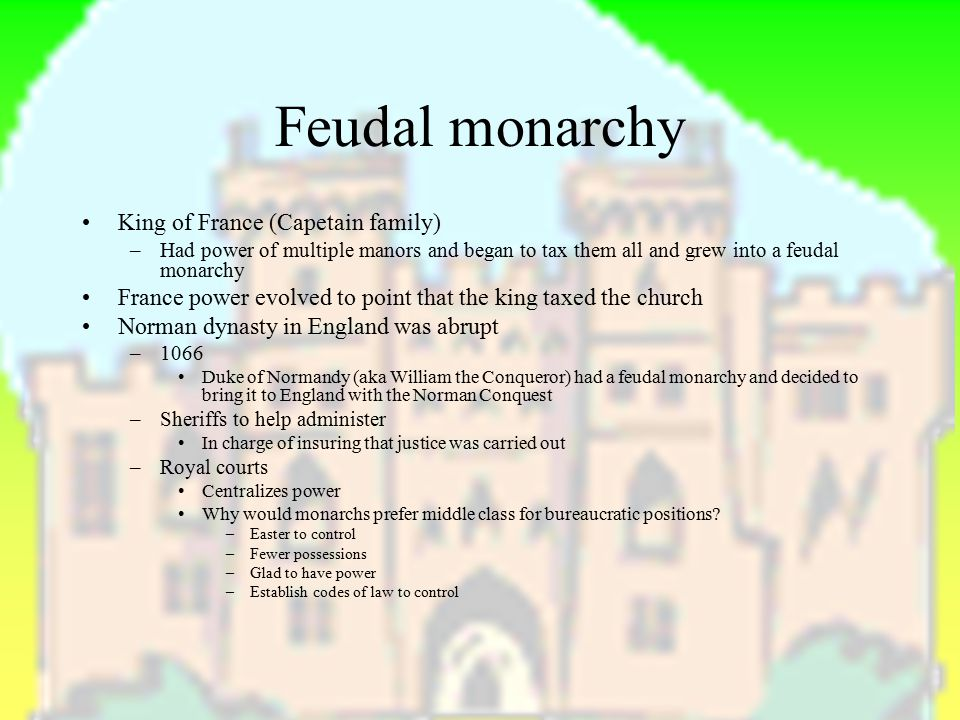 Feudal monarchy King of France (Capetain family)