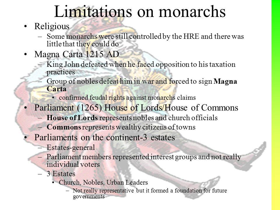 Limitations on monarchs