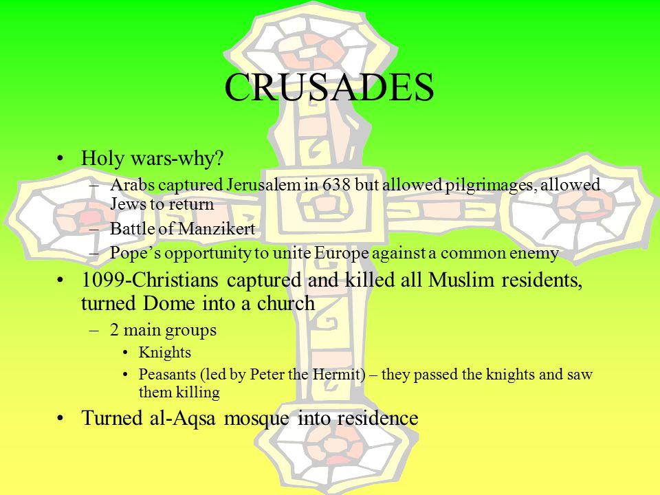 CRUSADES Holy wars-why
