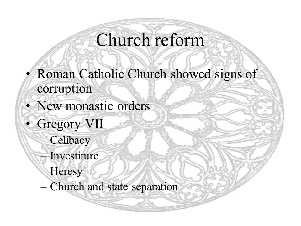 Church reform Roman Catholic Church showed signs of corruption