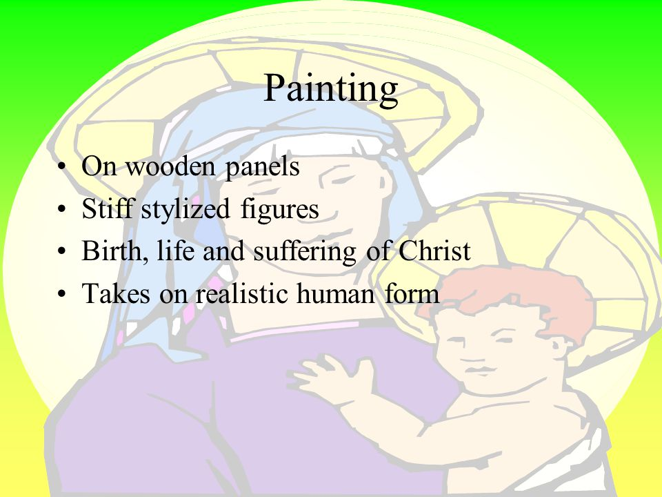 Painting On wooden panels Stiff stylized figures