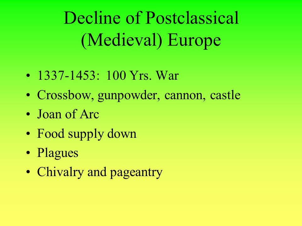 Decline of Postclassical (Medieval) Europe