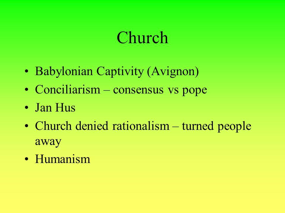 Church Babylonian Captivity (Avignon) Conciliarism – consensus vs pope