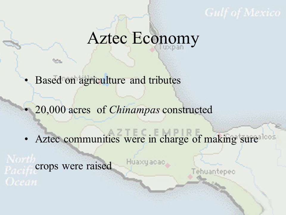 Aztec Economy Based on agriculture and tributes