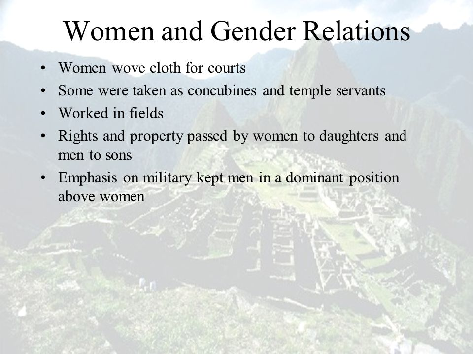 Women and Gender Relations