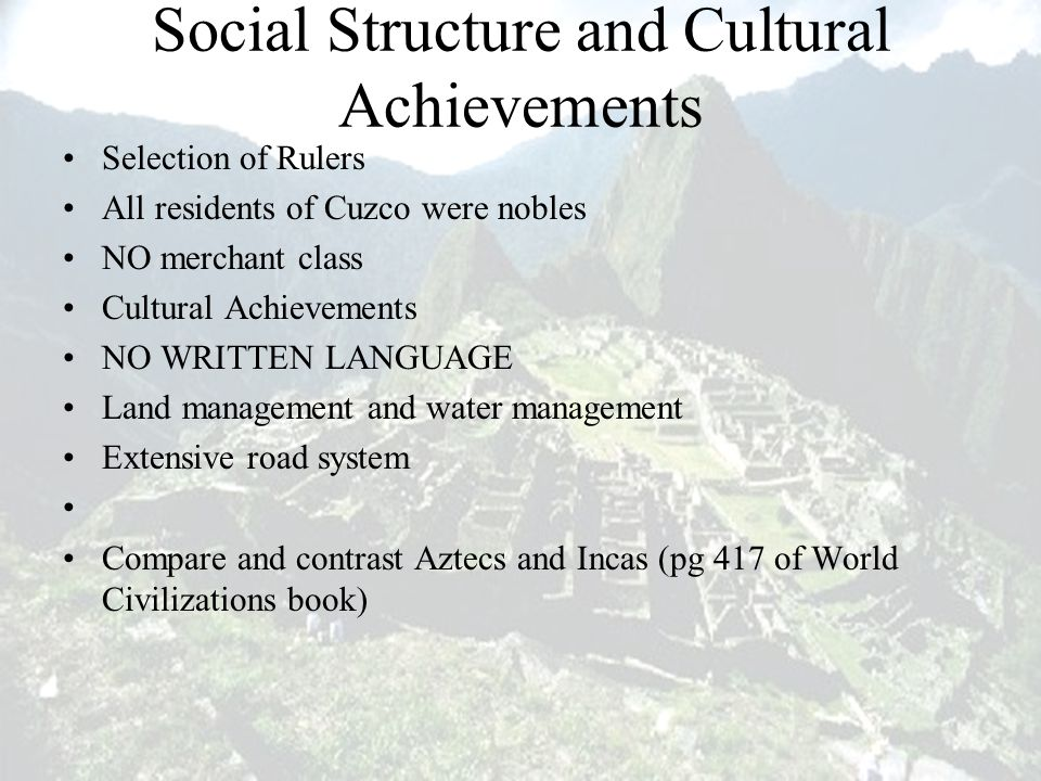 Social Structure and Cultural Achievements