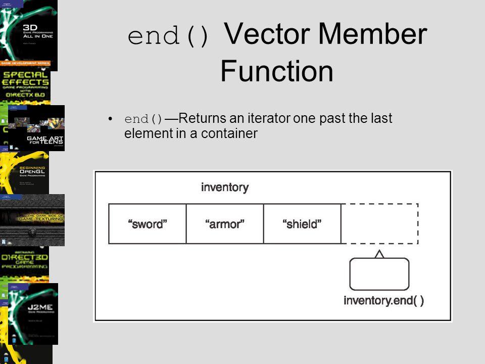 end() Vector Member Function