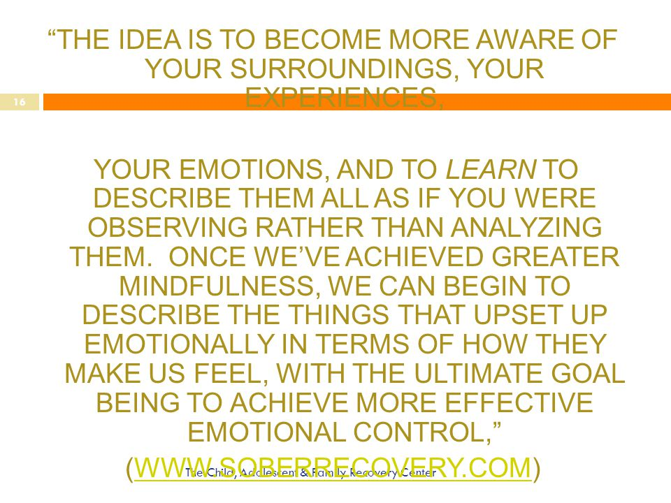 THE IDEA IS TO BECOME MORE AWARE OF YOUR SURROUNDINGS, YOUR EXPERIENCES, YOUR EMOTIONS, AND TO LEARN TO DESCRIBE THEM ALL AS IF YOU WERE OBSERVING RATHER THAN ANALYZING THEM. ONCE WE'VE ACHIEVED GREATER MINDFULNESS, WE CAN BEGIN TO DESCRIBE THE THINGS THAT UPSET UP EMOTIONALLY IN TERMS OF HOW THEY MAKE US FEEL, WITH THE ULTIMATE GOAL BEING TO ACHIEVE MORE EFFECTIVE EMOTIONAL CONTROL, (WWW.SOBERRECOVERY.COM)