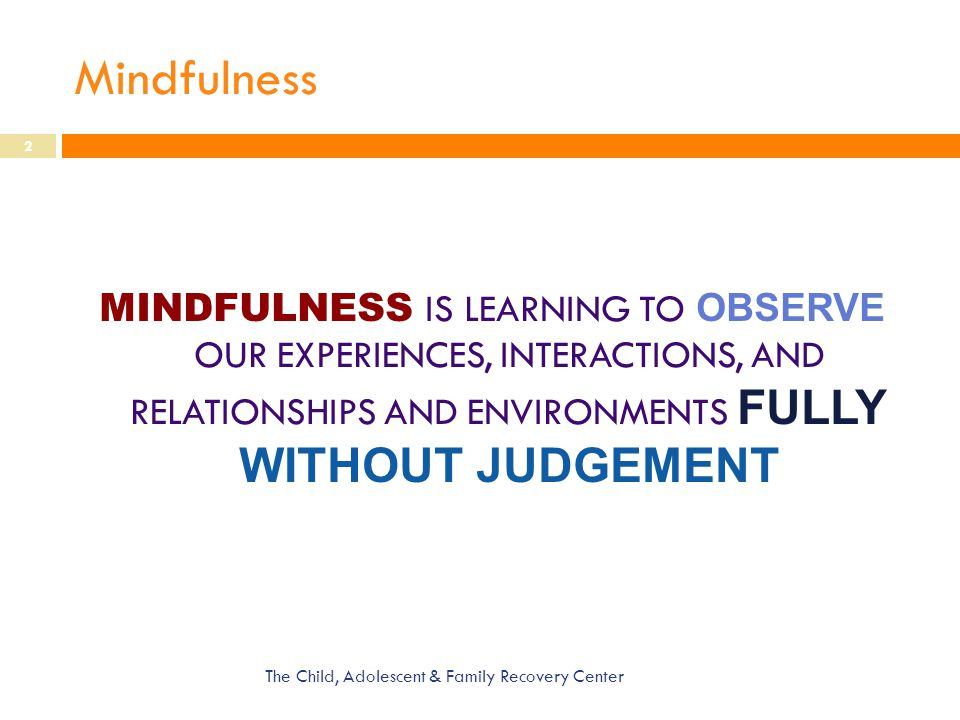 Mindfulness MINDFULNESS IS LEARNING TO OBSERVE OUR EXPERIENCES, INTERACTIONS, AND RELATIONSHIPS AND ENVIRONMENTS FULLY WITHOUT JUDGEMENT.