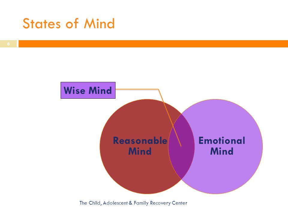 States of Mind Wise Mind Reasonable Mind Emotional Mind