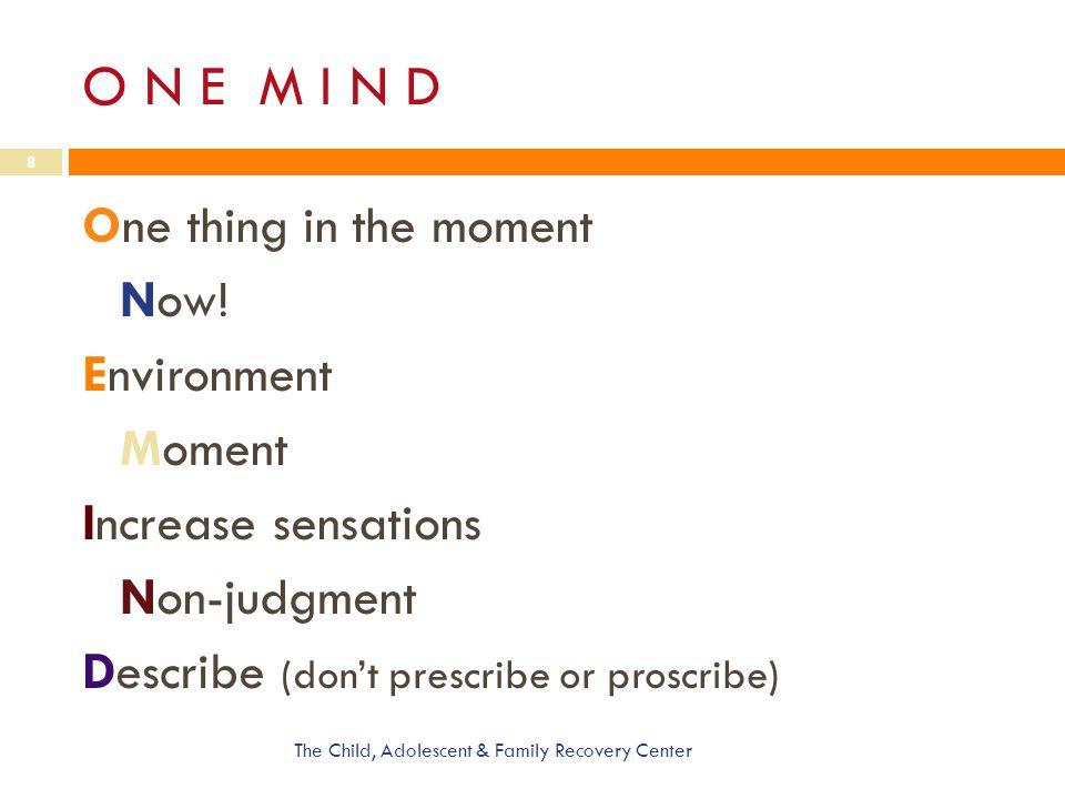 O N E M I N D One thing in the moment Now! Environment Moment Increase sensations Non-judgment Describe (don't prescribe or proscribe)